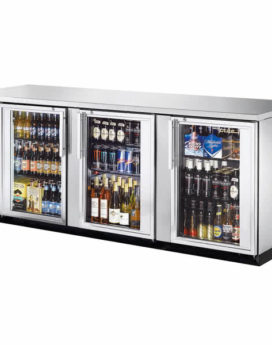 "True 90"" Stainless Steel Glass Door Back Bar Refrigerator"