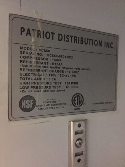 Patriot Single Door Display Refrigerator Information